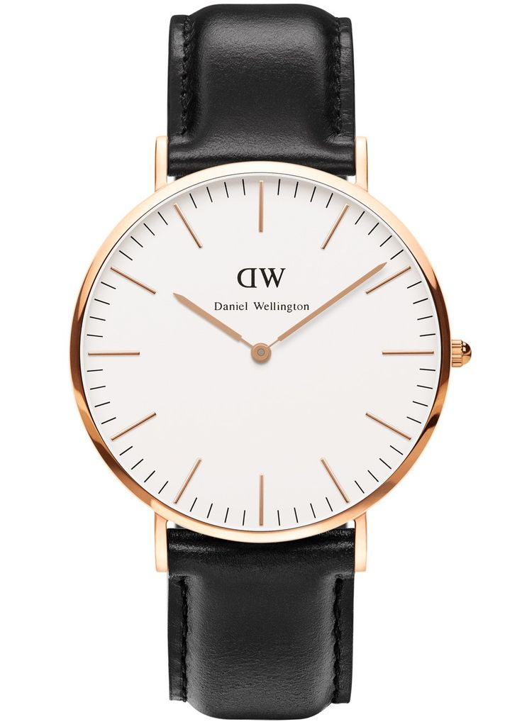 Herreur med sort læderrem og tynd urkasse - Daniel Wellington Classic Sheffield Rose Men 0107DW