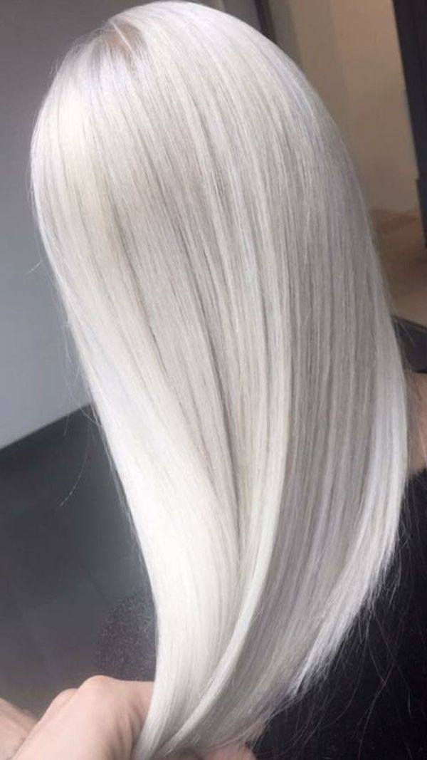 icy white platinum hair color