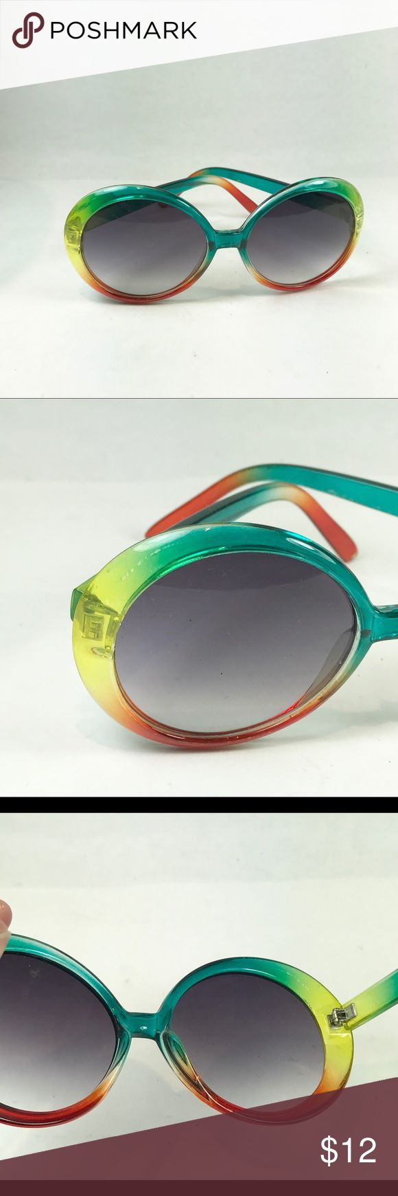 Rainbow sunglasses Rainbow sunglasses Fun funky and colorful One side is loose but still wearable Not sure if vintage No name or brand listed From pet and smoke free location Good for display none Accessories Sunglasses