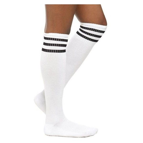 White And Black Cushioned Knee-High Crew Socks Hot Topic ❤ liked on Polyvore featuring intimates, hosiery, socks, extra long socks, padded socks, black white striped socks, black and white socks and crew socks