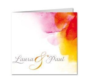 Aquarel in roodtinten van www.planet-cards.nl. De aquareltrend zet stevig door. Komt prachtig tot zijn recht op Tintoretto papier. #trouwkaart #aquarel #uitnodiging huwelijk