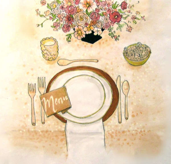 Our lovely new guru, Jess, sketched this for our dinner celebration. To see how it all turned out, click here. http://www.stylemepretty.com/2012/09/16/a-surprise-party-part-iv/