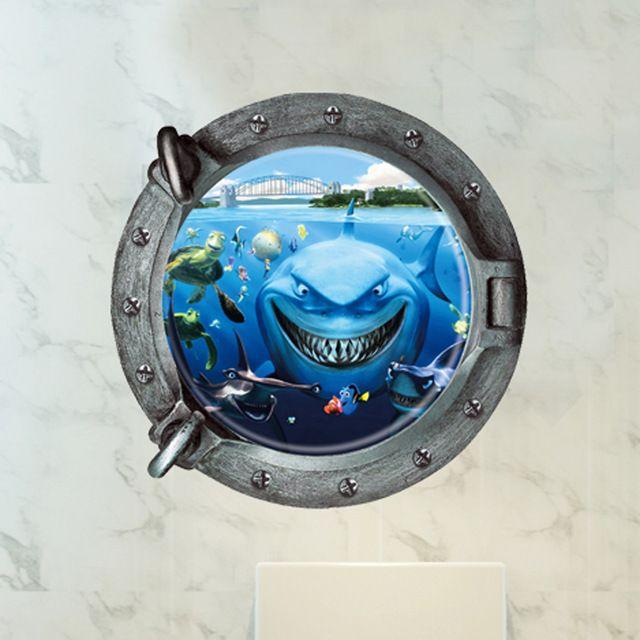 3d море акулы стены наклейки В Поисках Немо украшения дома diy мультфильм гостиная животные печати наклейки настенной росписи искусства плакат Туалет