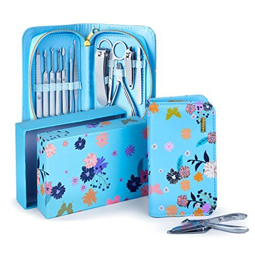Manicure Pedicure Kit 12Pcs of Stainless Steel Manicure Pedicure Set, Ideal for Travel/ Home Comes With Exclusive Quality Floral Zipper Case (Blue). For product & price info go to:  https://beautyworld.today/products/manicure-pedicure-kit-12pcs-of-stainless-steel-manicure-pedicure-set-ideal-for-travel-home-comes-with-exclusive-quality-floral-zipper-case-blue/