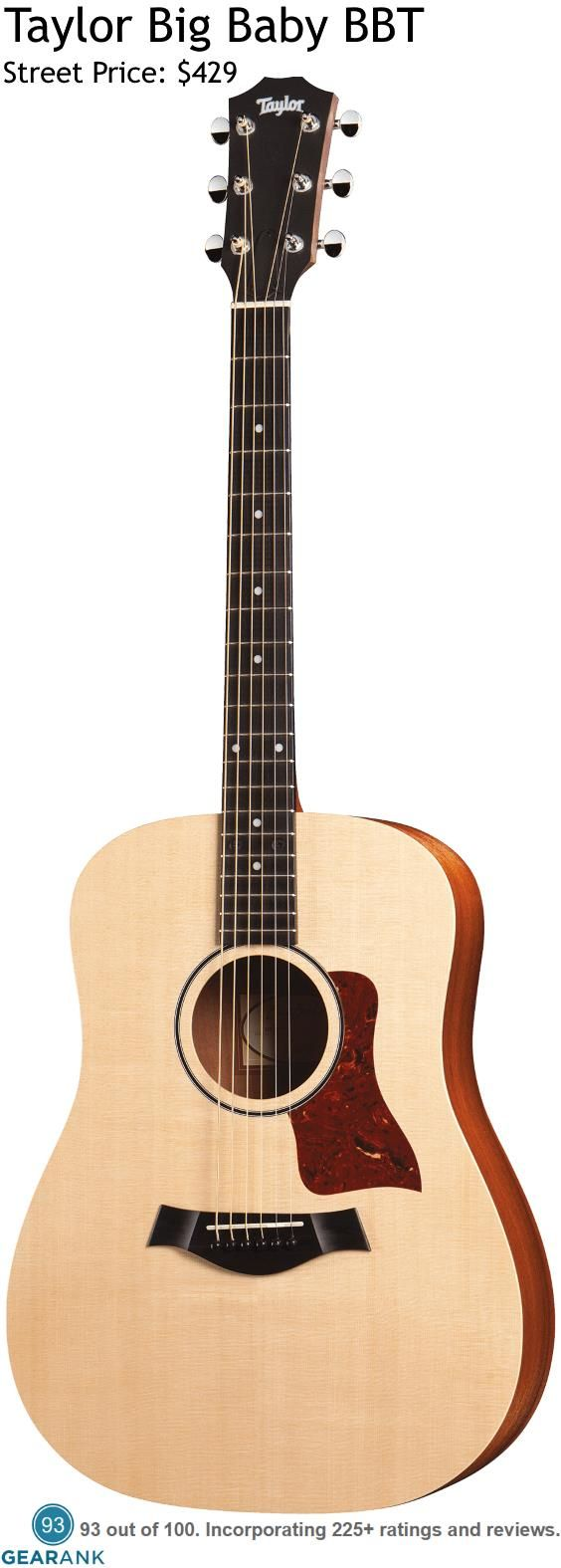 Taylor Big Baby BBT Acoustic Guitar. Taylor are one of the most highly respected brands for acoustic guitars and the 15/16 size BBT is the closest you can get to owning a new full-sized Taylor for less than $500.  For a detailed guide to acoustic guitars see https://www.gearank.com/guides/acoustic-guitars