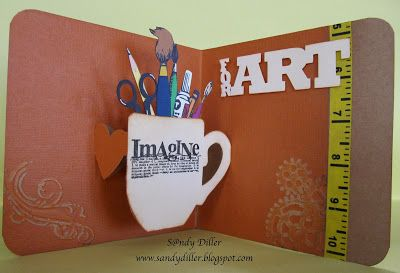 "Sandy Diller's Art-themed card using the Pop 'n Cuts Mug insert. -My ""Crafty"" Life on the Internet: Pop 'n Cut Crazed!!"