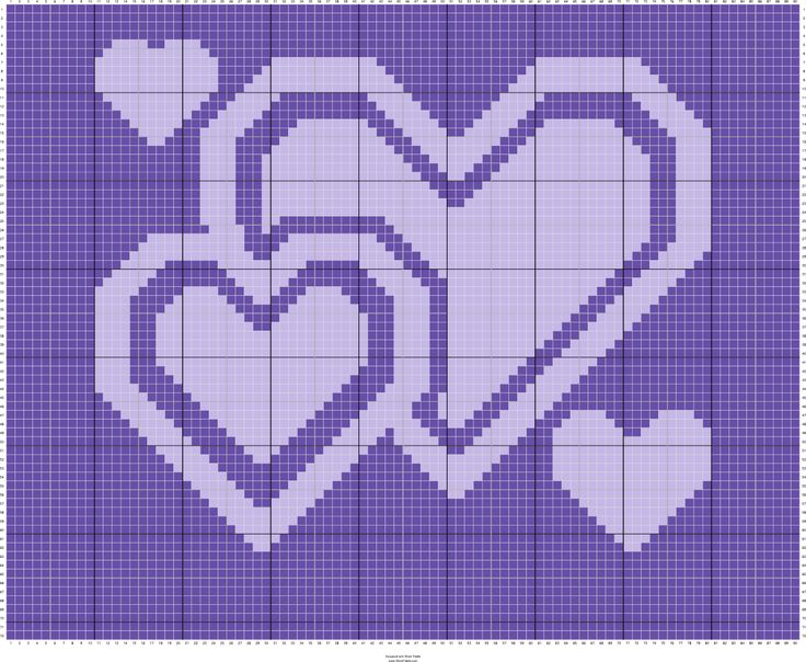 Free To Use Hearts Pattern Chart - Can be used for any kind of crafting.