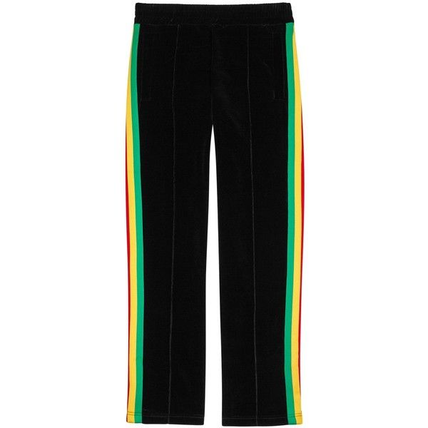 Palm Angels Black Striped Velvet Jogging Trousers - Size L (575 CAD) ❤ liked on Polyvore featuring men's fashion, men's clothing, men's activewear and men's activewear pants