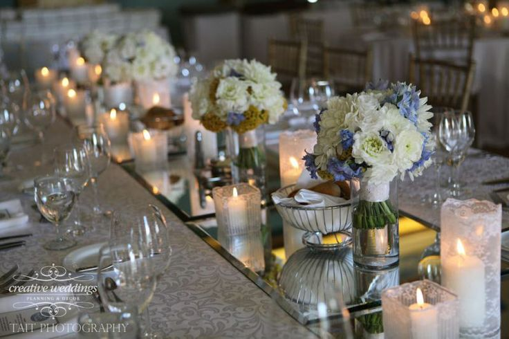 Feast table at wedding reception in the Cascade Ballroom at the Fairmont Banff Springs; bridal bouquets in vases down the center of the table; lace-wrapped candle votives; white table linens (Photo courtesy of Tait Photography)