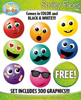 {FREE} Smiley Faces Clipart Set  Includes 300 Graphics!You will receive 300 clipart graphics that were hand drawn by myself - 290 Color Graphics and 10 B/W Graphics. This set includes 30 different facial expressions and each expression includes 10 different colors.
