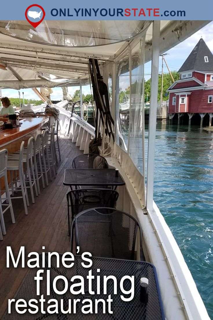 Travel | Maine | Attractions | USA | East Coast | New England | Places To Eat | Restaurants | Delicious | Food | Dining | Tasty | Waterfront | Outdoor Dining | Boat Restaurant | Hidden Gems | Places To Visit | Day Trips | Seafood | Small Towns | Things To Do | Kennebunk | Floating Restaurant