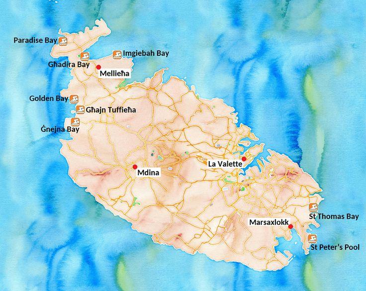 Carte des plus belles plages de l'île de Malte (cliquez sur l'image pour plus d'informations !)
