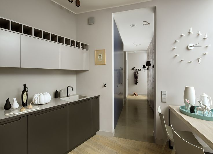 kitchen, grey interior, grey kitchen, clock, birds, Haoshi The Swallow clock