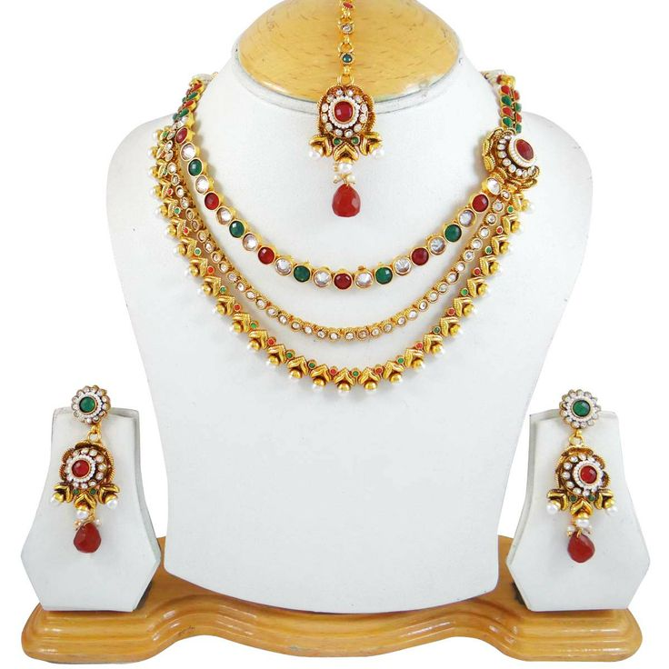 This is a beautiful 3 pcs set of traditional designer necklace jewelry includes a necklace set with an adjustable thread cord, a pair of earrings and beautiful maang tikka for forehead.  ..this is img