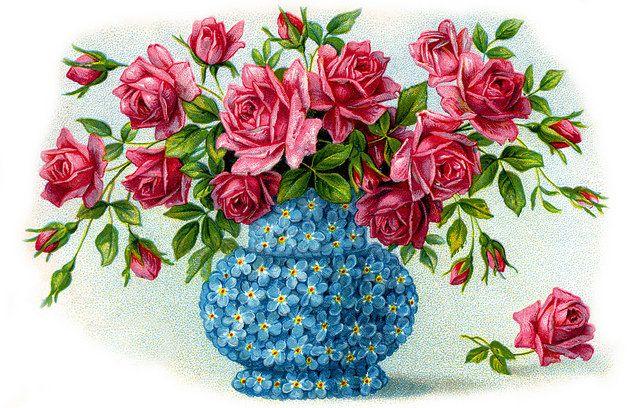 Вышивка крестом открытки с цветами