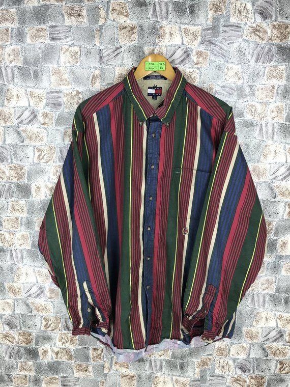 a86ec528 TOMMY HILFIGER Striped Shirt Xlarge Vintage Tommy Colorblock Sailing Gear  Oxfords StripesTommy Jeans Multicolour Buttondown Shirt XL