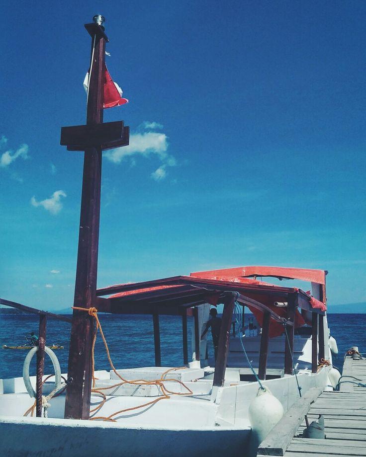 Boat with Indonesia flag. Labuan Aji, Moyo Island, NTB, #Indonesia.
