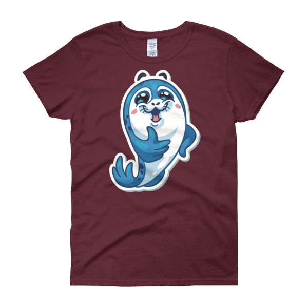 Seal Thumbs Up Womens T-Shirt – Happy Seal Collection – Gildan 5000L  Product: Gildan 5000L Ladies Heavy Cotton Short Sleeve T-Shirt  A heavy cotton, classic fit ladies scoop neck t-shirt. • 100% cotton jersey • Pre-shrunk • Near-capped sleeves • Mid-scoop neck • ½ rib double needle collar • Missy contoured silhouette with side seam