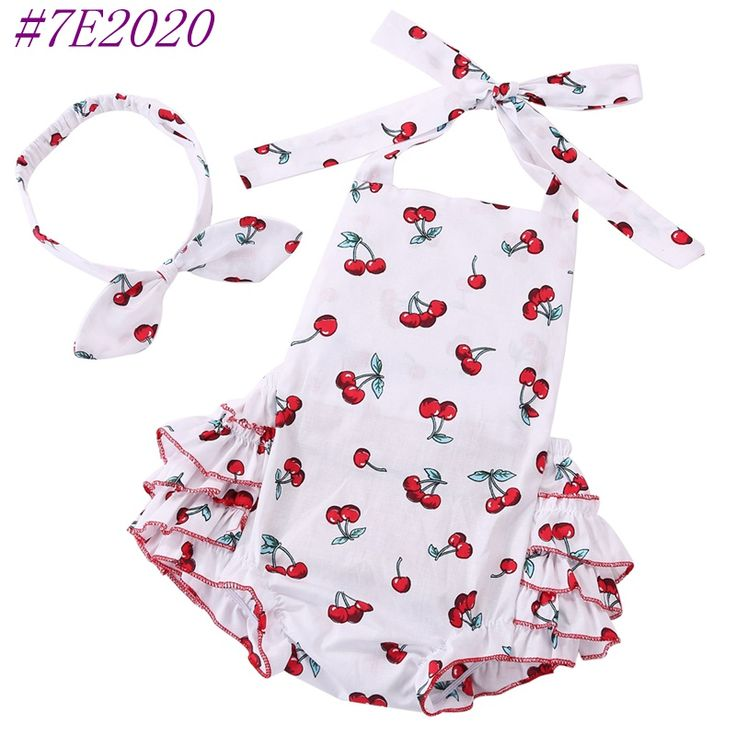New arrive cotton cherry toddler romper headband set, Flower sleeveless tops with belt newborn baby girl clothes outfits #7E2022-in Rompers from Mother & Kids on Aliexpress.com | Alibaba Group