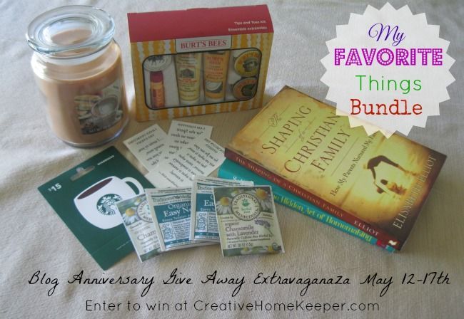My Favorite Things Give Away package includes:  Burt's Bees Tips and Toes Kit Hazelnut Cream 20 oz. jar candle The Shaping of a Christian Family: How My Parents Nurtured My Faith by Elisabeth Elliot The Hidden Art of Homemaking by Edith Schaeffer 4 Traditional Medicines Tea Bags 3 Armed with Truth Scripture Memory Temporary Tattoos $15 Starbucks Gift