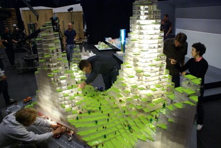 Danish architects Bjarke Ingels Group (BIG) show a LEGO model of their LEGO Towers project for an exhibition at Storefront for Architecture and Design in New York.