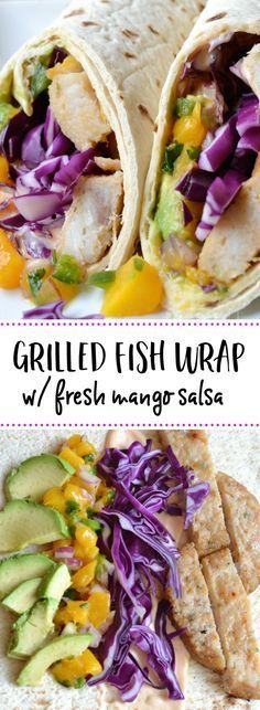 This grilled fish wrap sandwich is the perfect healthy and delicious summer dinner. Made with fresh mango salsa avocado cabbage and a spicy tangy mayo sauce. #sponsored