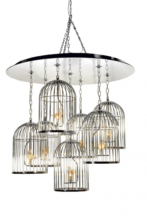 Pendant light with crystal Murano birds, Colombostile