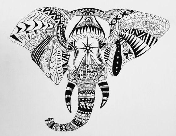 Éléphant imprime, Tribal, éléphant graphisme, sérigraphie t-shirts, Illustration d'éléphant africain, motif aztèque