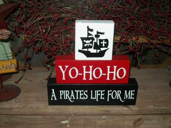 Boys Pirate Themed Nursery Wood Sign Blocks Personalized Room Decor   Visit & Like our Facebook page! https://www.facebook.com/pages/Rustic-Farmhouse-Decor/636679889706127