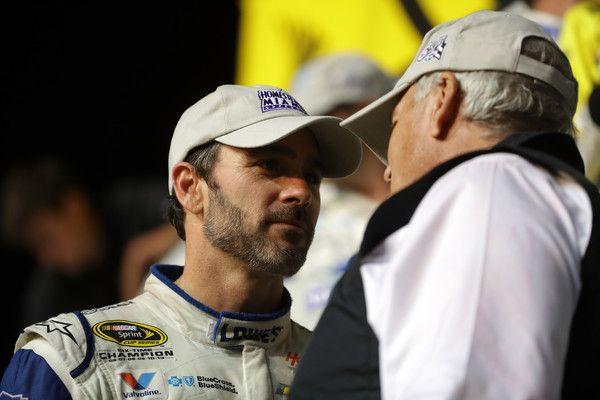 Jimmie Johnson Photos Photos - Jimmie Johnson, driver of the #48 Lowe's Chevrolet, reacts in Victory Lane after winning the NASCAR Sprint Cup Series Ford EcoBoost 400 and the 2016 NASCAR Sprint Cup Series Championship at Homestead-Miami Speedway on November 20, 2016 in Homestead, Florida. Johnson wins a record-tying 7th NASCAR title. - NASCAR Sprint Cup Series Ford EcoBoost 400