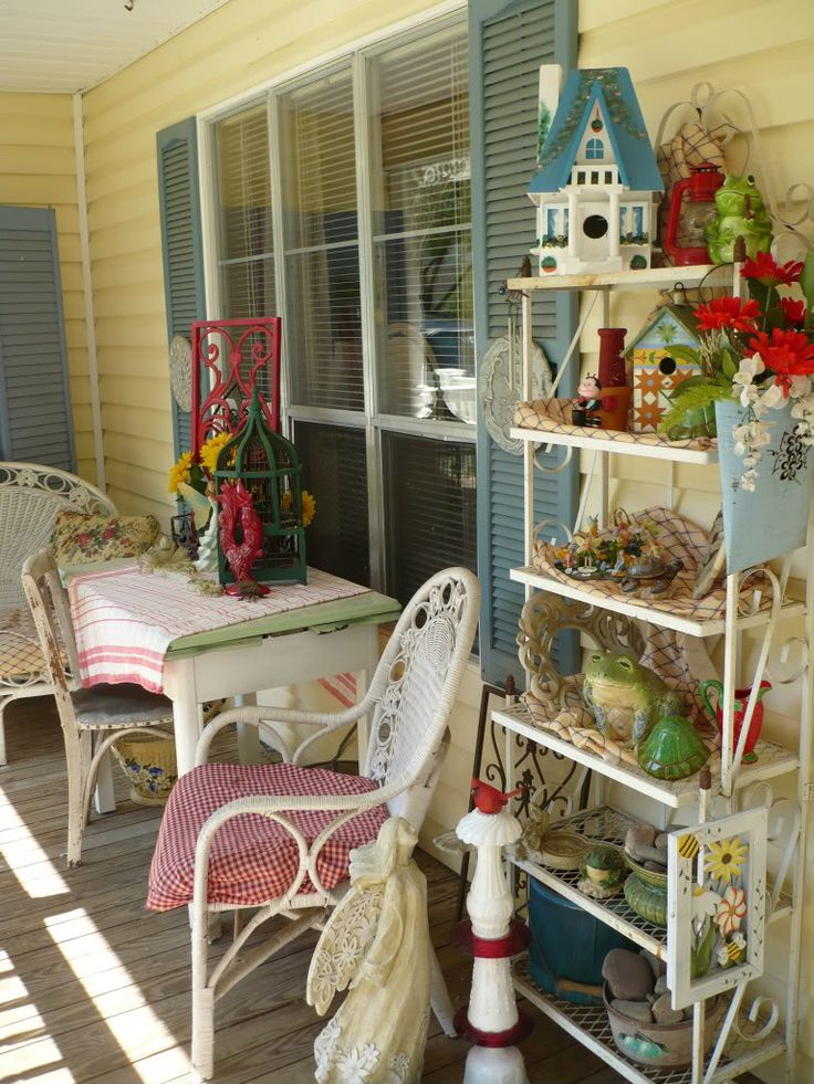 Country Porches, Front Porches, Bakers Rack, Sitting Area, Porch Ideas,  Patios, Color Schemes, Fun Things, Outdoor Spaces