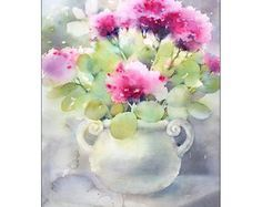 Casa rosas Original sin enmarcar Acuarela sobre alta calidad 300 g/m - de 140 lb papel acuarela Fabriano libre de ácido. Mano pintada y firmada por la artista Maria Stezhko. Tenga en cuenta que los colores pueden variar ligeramente dependiendo de la configuración del monitor. Tamaño: 9 x 12 pulgadas o unos 23 x 30 cm ******************************************************************************* Este cuadro estará repleto de atención prevención de daños. Compradores internacionales...