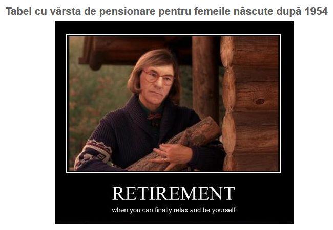 Stii cand vei iesi la pensie? Verifica tabelul cu varsta standard de pensionare la femei: https://www.meritangajat.ro/pg/articole/admin/read/36570/tabel-cu-varsta-de-pensionare-pentru-femeile-nascute-dupa-1954