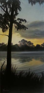 "Saatchi Art Artist ΑγγελικΗ  Aggeliki; Painting, ""Sunset at Margarona I"" #art Size: 60 H x 30 W x 2 cm -NOT AVAILABLE"