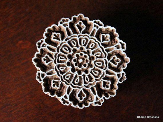 Hand Carved Indian Wood Textile Stamp Block- Round Floral Motif via Etsy