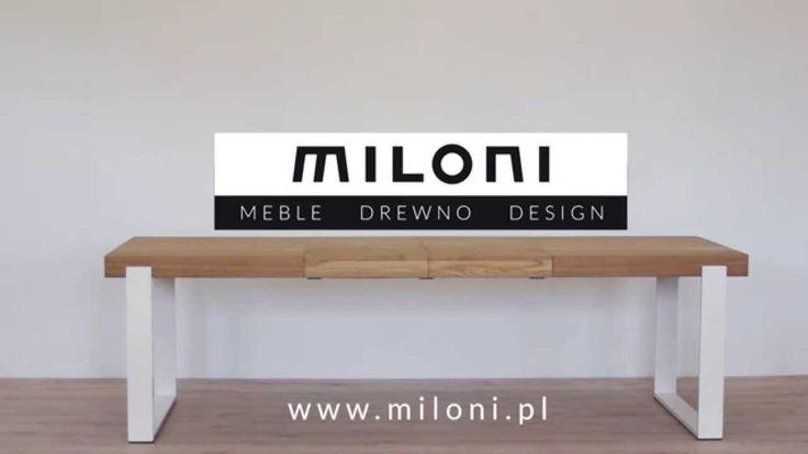 Miloni - stół FRAME: Drewniany nowoczesny stół rozkładany do jadalni