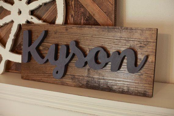 Custom Name Wood Word Cutout Scroll Cut Name by 302WoodWorks