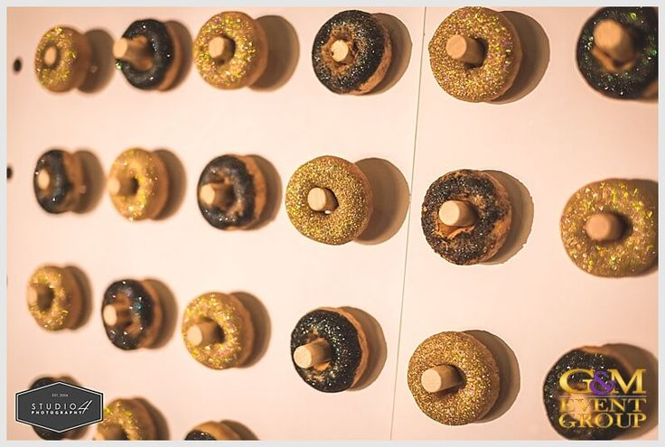 Black and Gold Glitter Doughnut Wall // A Magnifique  D R E A M  Wedding at Sirromet Winery // Wedding MC + DJ + Lighting Design #MCGlennMackay #DJBenShipway #GMEventGroup #GMDJs #GMLighting #WeddingLighting #WeddingMC #WeddingDJ