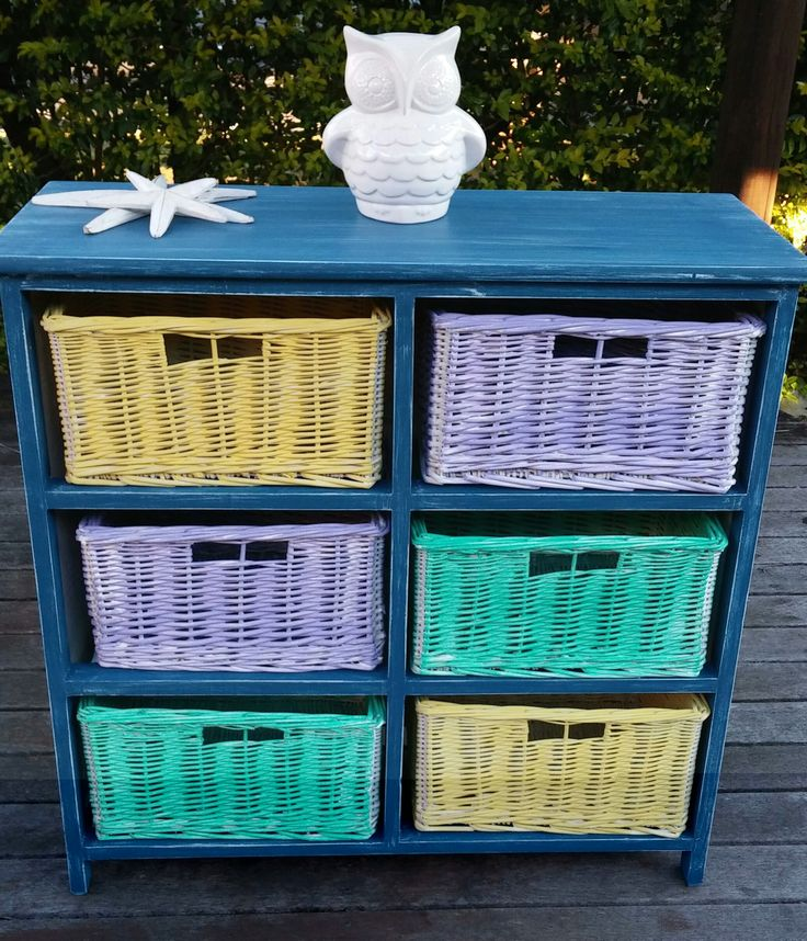 AFTER - With some bright colours, the storage baskets are now perfect for a child's bedroom or play area.  (*These are currently listed on Gumtree $55)