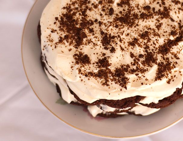 This is the easiest dessert ever and one I'm told is famous for being an Australian favorite for birthday cakes. It's assembled by icing cookies with cream.