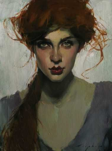 Artist: Malcolm T. Liepke (b. 1954), oil on canvas {contemporary artist beautiful female redhead woman face portrait painting} <3 Sultry !!