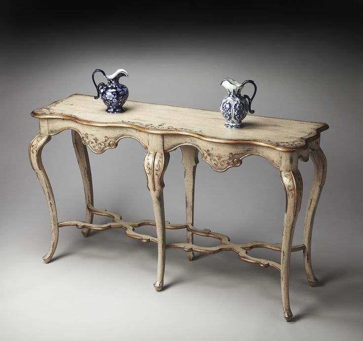 French Country Console Tables Part   17: French Country Console Table In  Antique Cream Distress