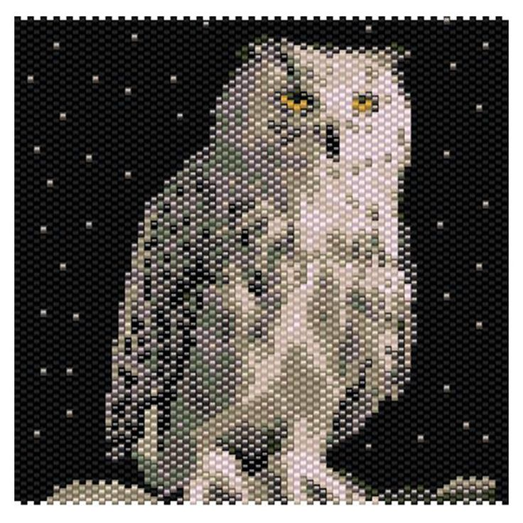 Snowy Owl Tapestry 4 x4 inch Peyote Bead Pattern, Seed Beading Pattern Miyuki Delica Size 11 Beads - PDF Instant Download by SmartArtsSupply on Etsy