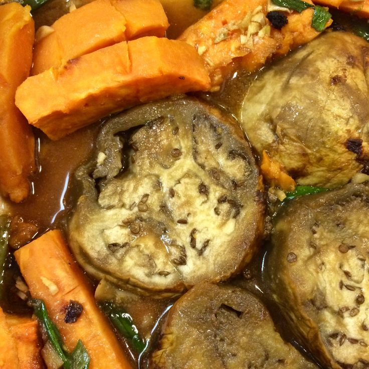 Eggplant & Yam Stew with Miso ~ a deliciously hearty vegetarian stew, perfect for the long night, short days time of year.  Gluten Free, Vegetarian.