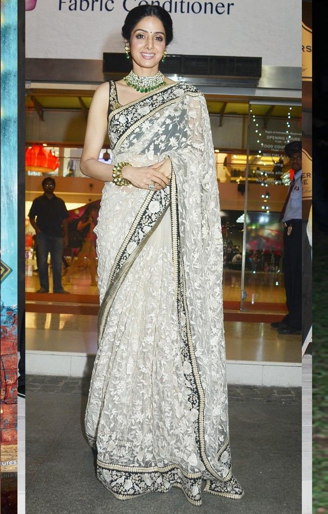 Sridevi in a beautiful black blouse and lace saree.