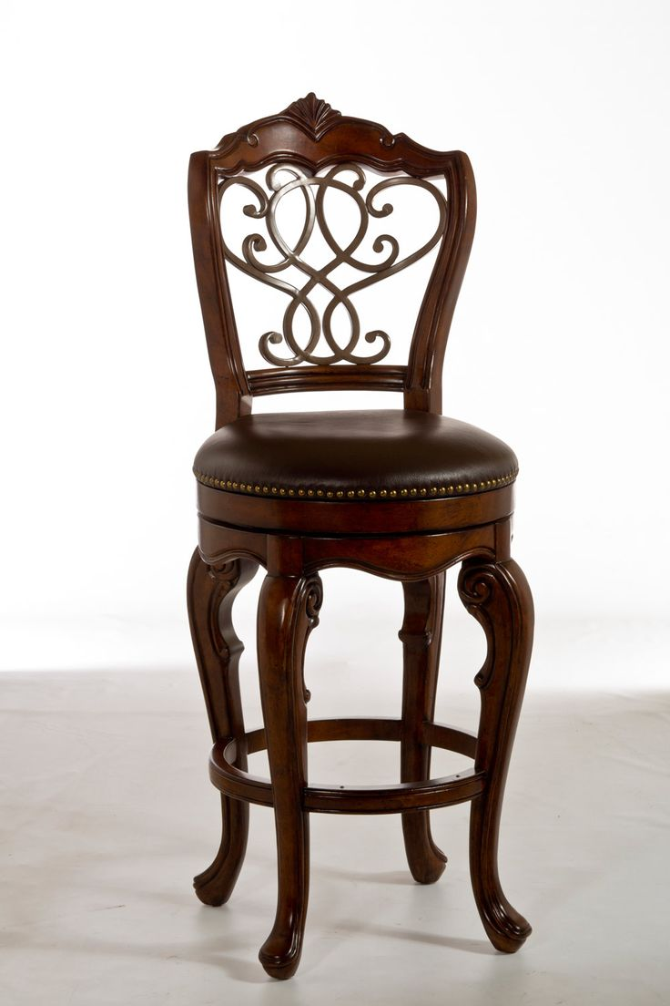 Bayberry dark cherry 44 inch round table with chairs - Burrell Swivel Bar Stool Dark Brown Hillsdale