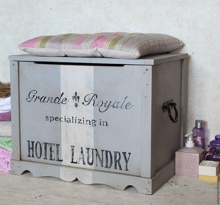 Купить Сундук для ванной - серый, сундук, сундук деревянный, сундук для хранения, сундук ручной работы
