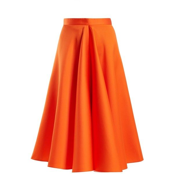 Maison Rabih Kayrouz High-waisted satin full skirt ($1,780) ❤ liked on Polyvore featuring skirts, orange, high rise skirts, full satin skirt, orange skirt, pleated skirt and neon skirts