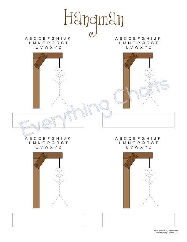 Hangman game pdf file printables charts pinterest