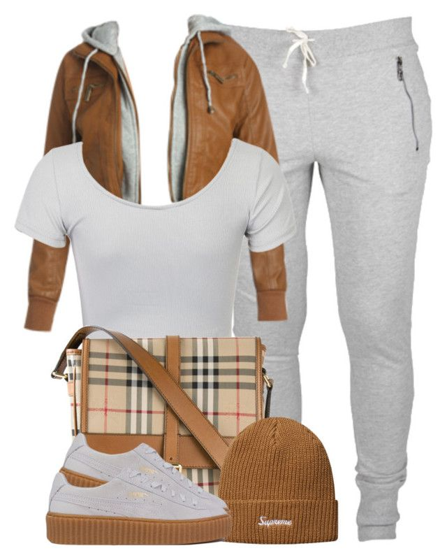 """""""Brown x Grey"""" by cheerstostyle ❤ liked on Polyvore featuring Wet Seal, WithChic, Burberry and Puma"""